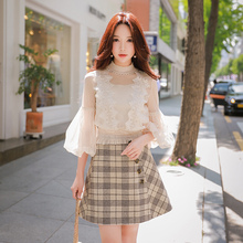 Dabuwawa Women High Waist Elegant Plaid Skirts New Office Lady Button design Fashion A-Line Mini Skirts D18CSK043
