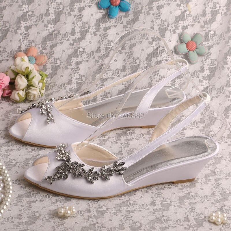 "White Peep Toe Shoes Rhinestone 2"" Wedges Heel Satin Wedding Bridal Sandals Woman Fashion Shoes"