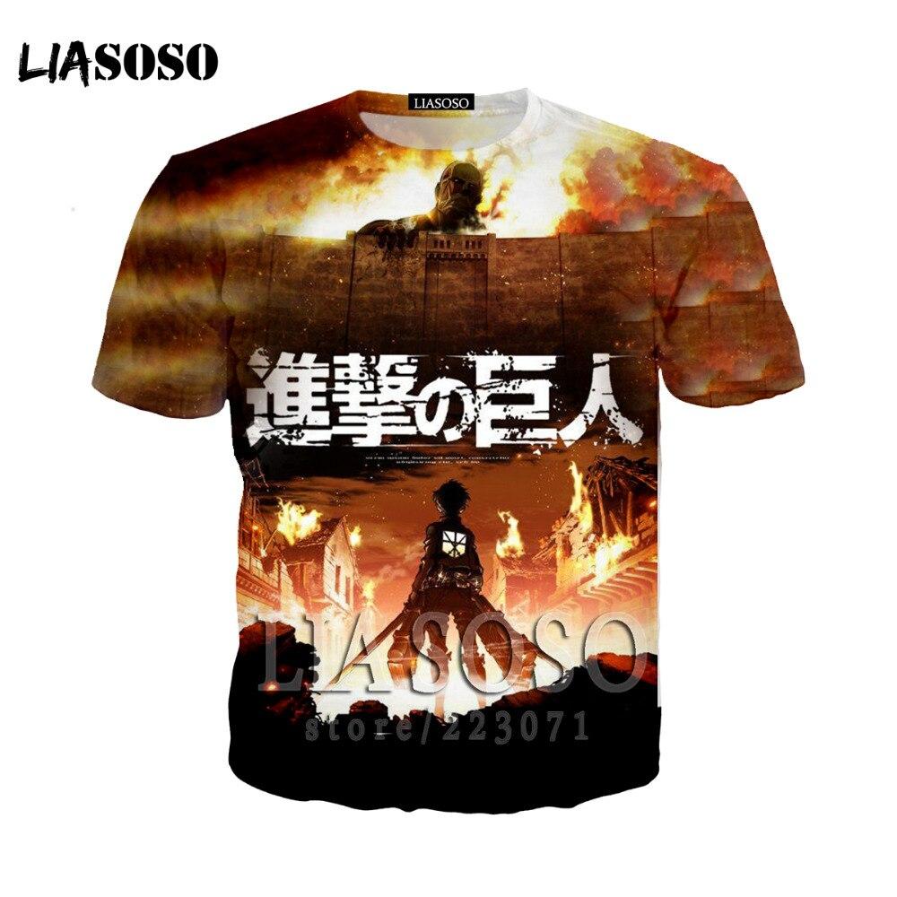 LIASOSO Japanese Anime Attack on Titan t shirt in men's T-shirt Short Sleeve Hip Hop Strretwear 3D O-neck summer tshirt at12