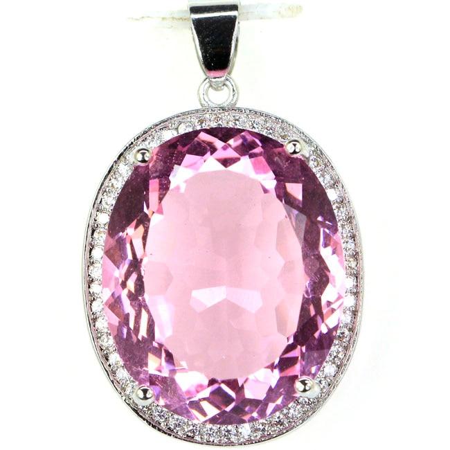 купить!  Большой овальный драгоценный камень 22x18 мм Розовый Kunzite Белый CZ Женский 925 Серебряный кулон