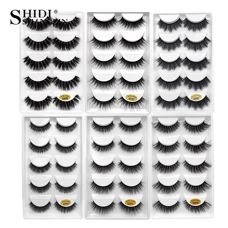 SHIDISHANGPIN 5 Pairs Mink Eyelashes 1 Box 3d Mink Lashes Natural Long False Eyelashes Handmade Makeup False Mink Eyelashes G8