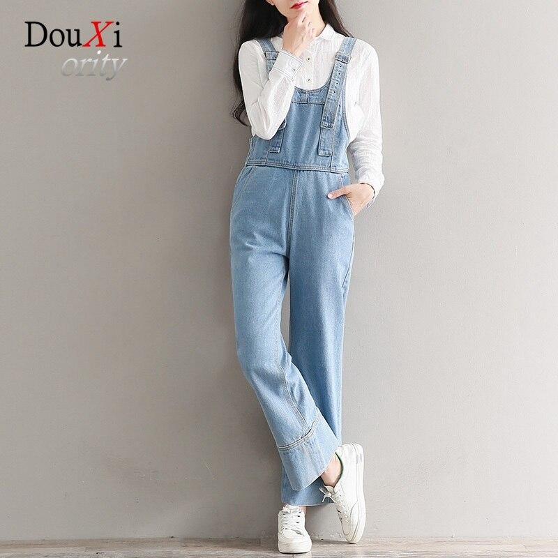 Vintage Women Jeans Jumpsuits Harem Pants Wide Leg Rompers Loose Casual Pockets Retro Calcas Jeans Feminina Pantalon Mujer