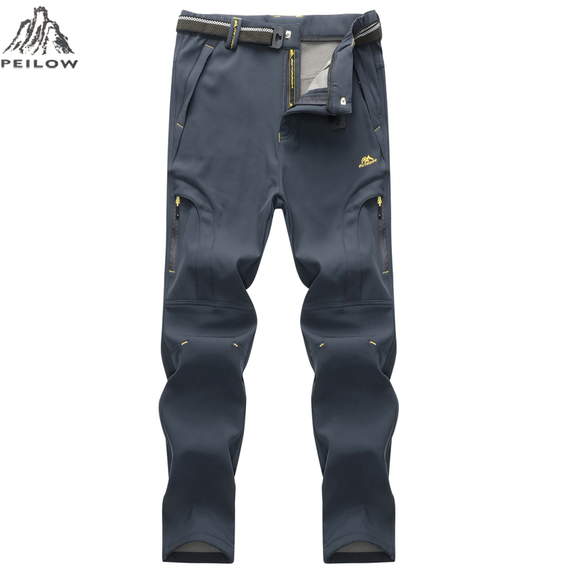 PEILOW Women Men's Winter Pants Mens Casual Pant Waterproof Male's Jogger Thick Trousers Warm Fleece Pants Men Size 6XL 7XL 8XL