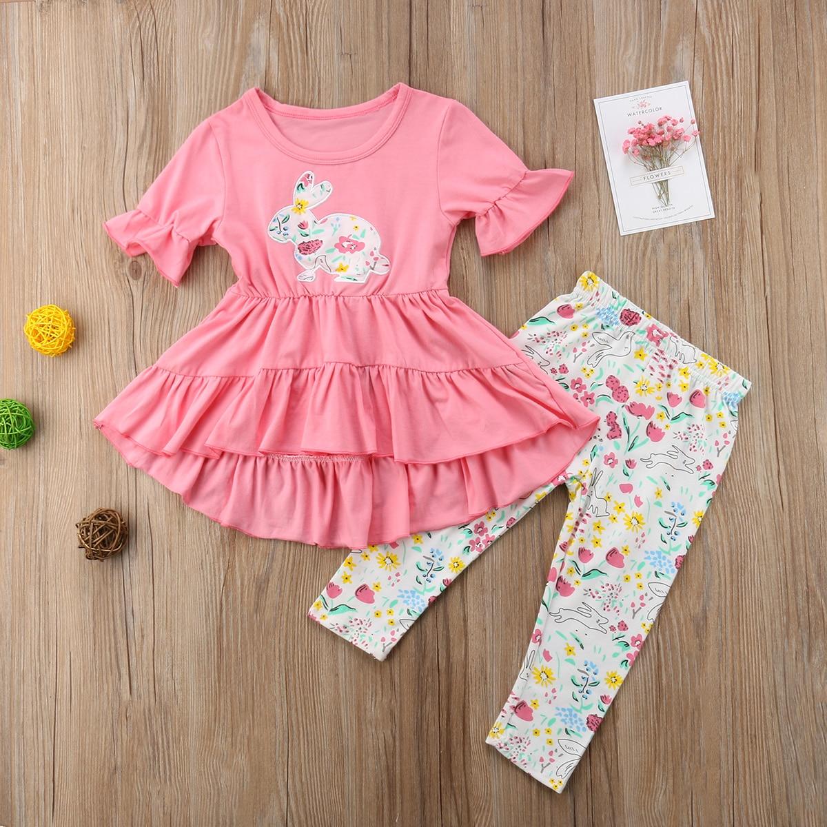 Heerlijk Mijn 1st Pasen Pasgeboren Meisje Ruche Roze Jurk Lange Broek Casual Outfits Kleding Yu Obstructie Verwijderen