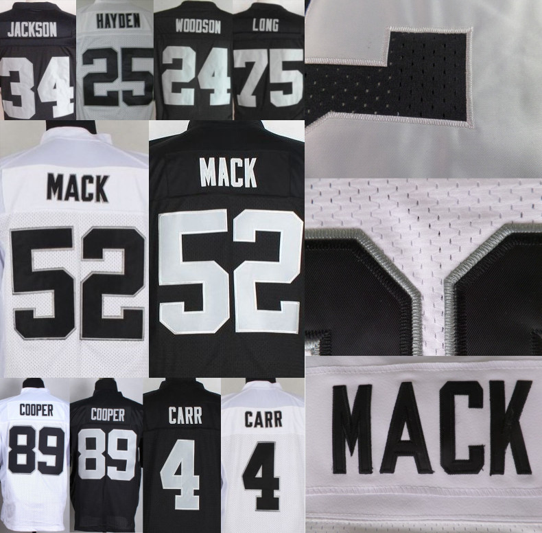 sports shoes 80370 08628 US $27.99 |52 Khalil Mack Jersey #89 Amari Cooper #4 Derek Carr Jersey #34  Bo Jackson #91 Tuck #75 Long Jersey 100% Stitched Hot Sale-in America ...