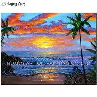 Handgemalte Moderne 3D Schöne Sonnenaufgang Meer Landschaft Ölgemälde Auf Leinwand Welle Strand Landschaft für Room Decor Wandmalerei