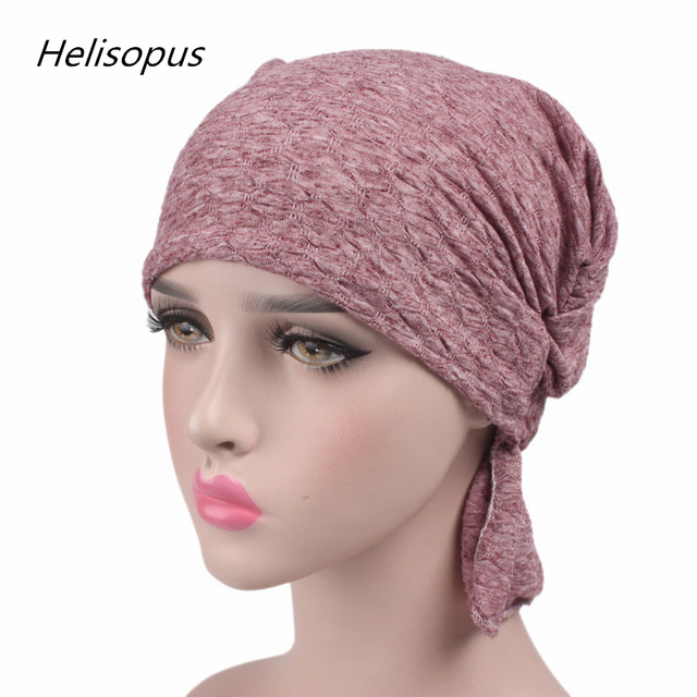 Helisopus 2019 New Women Cotton Scarf Cap Chemo Hat Summer Beanies Stretchy  Turban Headwear for Cancer Patients Hair Accessories 797006878c2