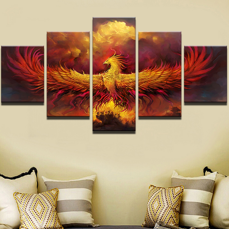 Wall art canvas painting style animal wall pictures for living room cuadros 5 pieces fire - Decoration pieces for living room ...