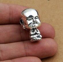 Ручной Серебро 925 Маленький Монах Гуру Шарик Чистого Серебра Тибетского Мала Гуру Буддийский Четки Гуру Бисера
