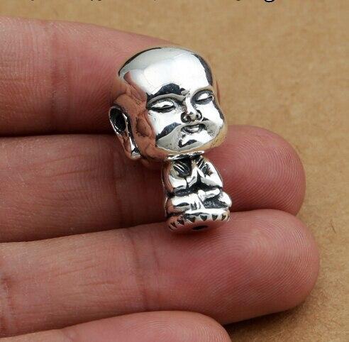 Main 925 Argent Petit Moine Gourou Perle Pur Argent Tibétain Gourou de Mala Bouddhiste Prière Perles Gourou Perle
