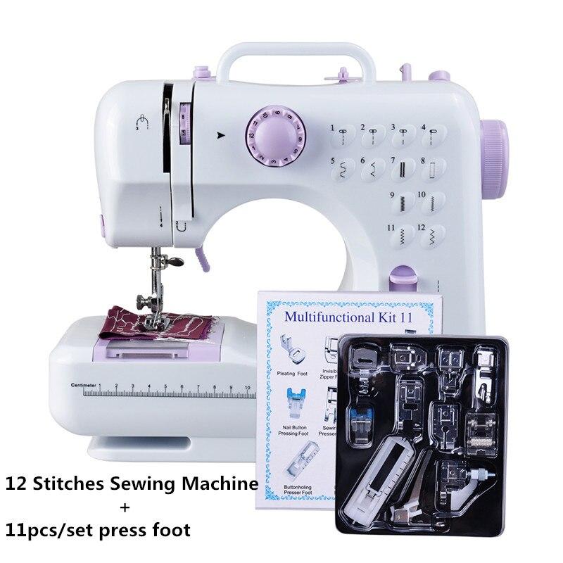 Fanghua Mini Multifunções Máquina De Costura 505A 12 Pontos Substituível + 11 pc fonte de Alimentação do DIODO EMISSOR de Luz as aulas de Costura Calcador