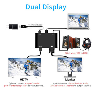 Image 3 - VGA zu VGA HDMI Splitter mit 3,5mm Audio Converter Unterstützung Dual Display für PC Projektor HDTV Multi port VGA Adapter