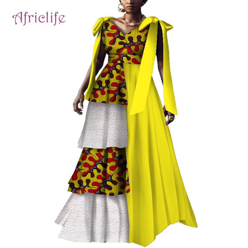 Women African Long Dresses Multi-layer Wedding Party Evening Dress Elegant Lady African Ball Gown Traditional Clothing WY4133