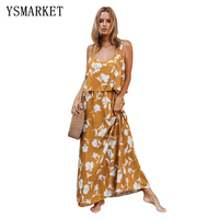 Summer Vacation Boho Floral Print Loose Dress Women Sexy Sleeveless Deep V Neck Hollow Out Back