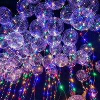 new 20Pcs Luminous Led Balloon Clear Bubble Balloon BOBO Clear LED Light christmas Decor Birthday Party Supplies 20inch Balloons