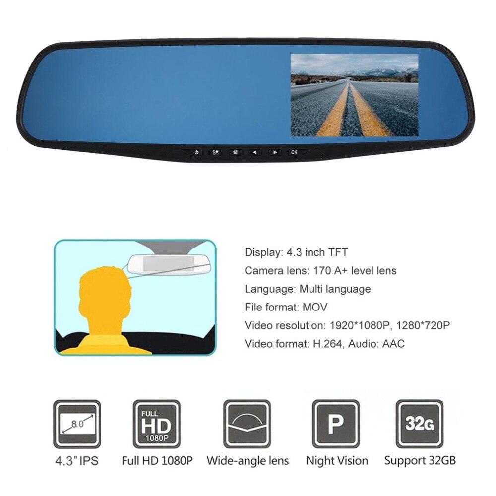 4,3 ''lente Dual TFT LCD coche de estacionamiento espejo retrovisor 1920*1080 p Rearview Monitor de copia de seguridad cámara nuevo