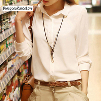 New Temperament Long Sleeve White Shirt Women OL Eleangt Formal Slim Chiffon Blouse Office Ladies Plus