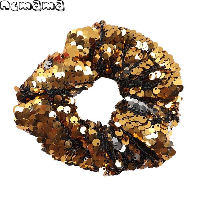 Women Bling Sequin Scrunchies Reversible Elastic Hair Bands Ponytail Handmade  Hair Ties For Girls Hair Accessories 5d88f7b9114