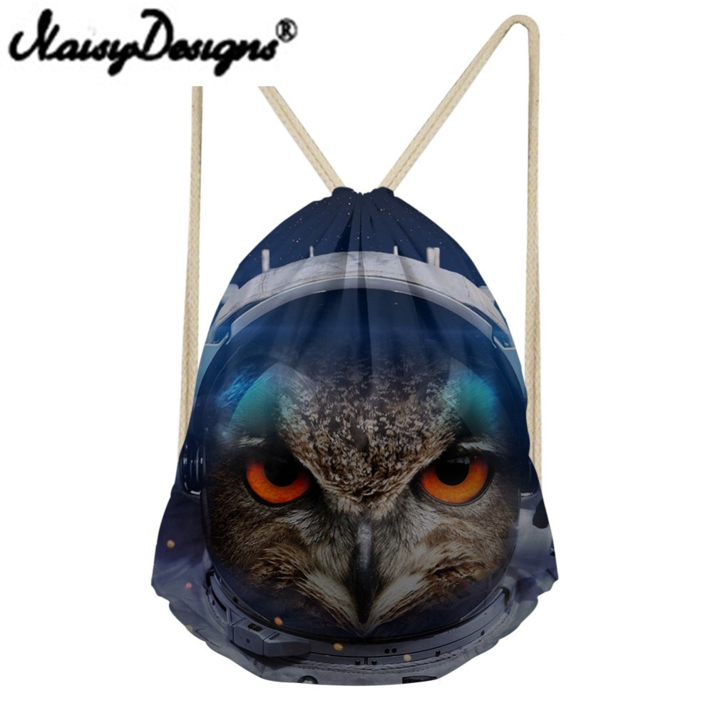NOISYDESIGNS 3D animals eagle blue cat lion tiger Printing Drawstring Backpack man s Portable Bags Pouch