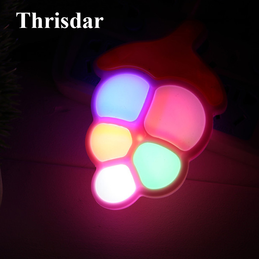 Thrisdar Grape Fruit LED Night Light Auto Light Sensor Plug Wall Socket Light Bedroom Bedside Baby Kids Night Light Toys Gift