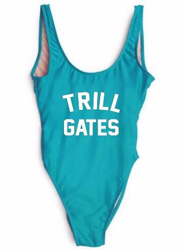Free Shipping US SIZE TRILL GATES Swimwear  suits One Piece Bodysuit Jumpsuit Girl Playsuit Beachwear Bathingsuit Customn