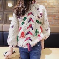 Bloemen Geborduurde Kabel Knit Sweater Winter Handgemaakte Dikke Katoenen Warme Coltrui Kerst Boho Chic Womens Truien