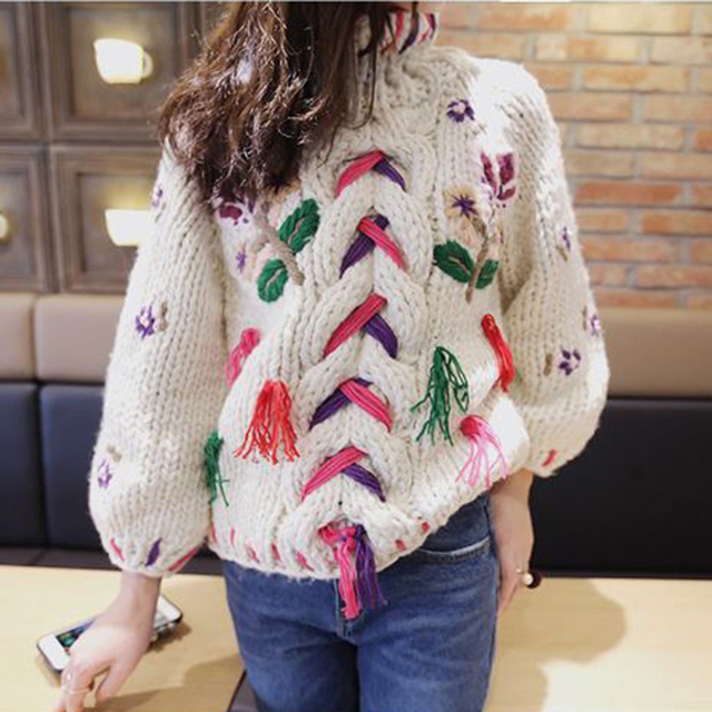519b8c9c72 Floral Embroidered Cable Knit Sweater Pullover Winter Handmade Thick Cotton  Warm Turtleneck Christmas Boho Chic Womens Sweaters