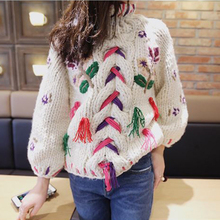 Floral Embroidered Cable Knit Sweater Pullover Winter Handmade Thick Cotton Warm Turtleneck Christmas Boho Chic Womens Sweaters