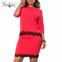 Nemidor 2017 Women Plus Size 6XL 3 4 Sleeve Casual Bodycon Dress Elegant Lace O Neck