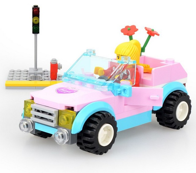 Girls Model Building Kits Pink Small Dream Car With Girl Doll Traffic Lights Models Education Toys
