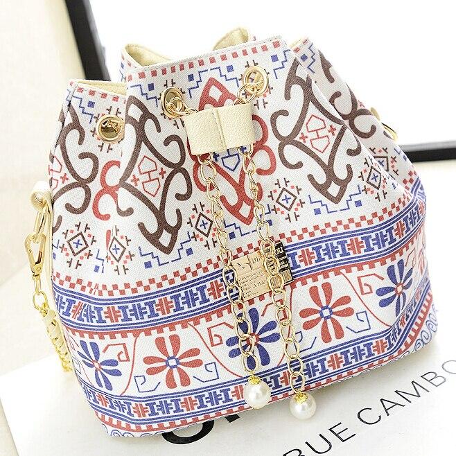스테이시 가방 핫 세일 여성 핸드백 여자 민족 인쇄 꽃 어깨 가방 체인 캐주얼 양동이 가방 꽃 작은 십자가 가방