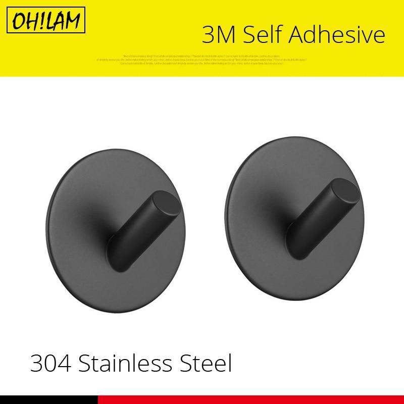 Black Towel Hooks 1pc Stainless Steel Strong Suction Bathroom Kitchen Decorative Rack Key Holder Hat Bag Clothes Shovel Hanger