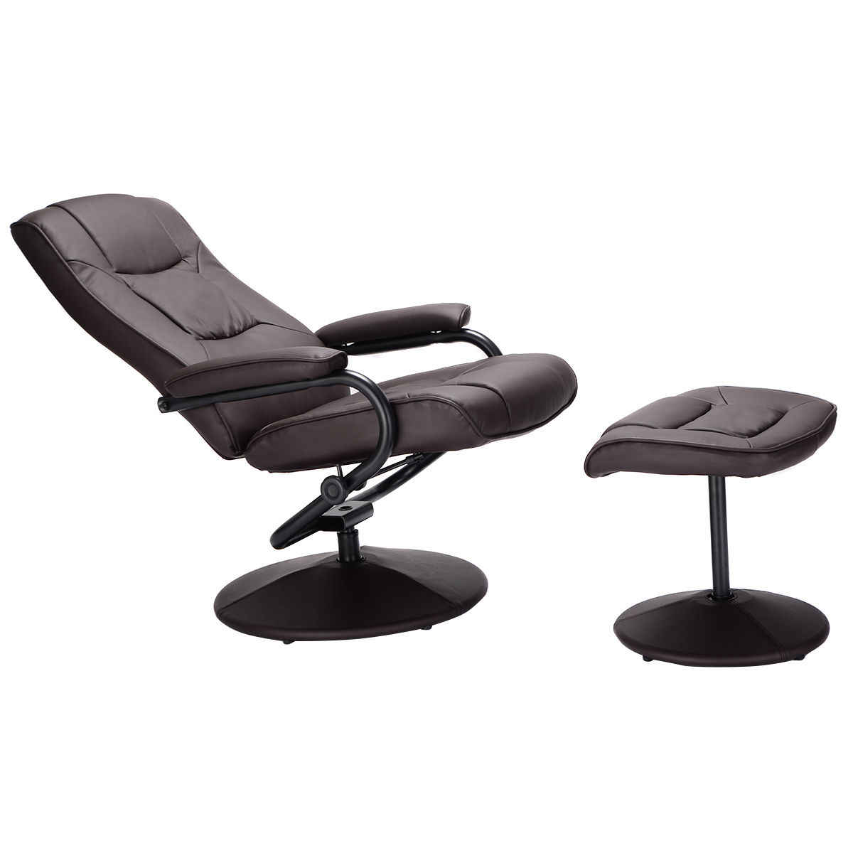 Giantex Recliner Chair 360 Degree Swivel Armchair Modern Lounge Seat With Footrest Stool Ottoman Home Furniture Hw51430bn