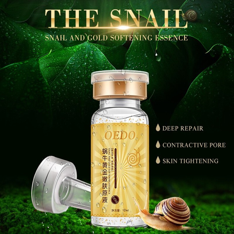 Contractive Pore  Natural Snail And Gold Softening Essence Hydrating Deep Repair  Skin Tightening Tender Brighter Compact Smooth
