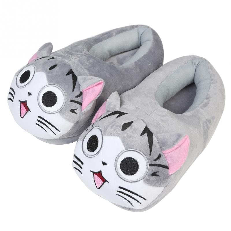 2017 New Cartoon Cat Cotton Slippers Soft Warm Home Slippers For Girls Use Anime Cartoon Plush Stuffed Shoes Cute Winter Shoes