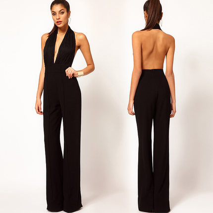 04b0919a416 Summer Women Jumpsuit Tank Sleeveless Overall Ladies  Casual Jumpsuits  Black Rompers Halter Neck Backless Top Plus Size A1734