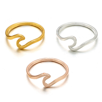 docona Antique Rose Gold Silver Wave Rings for Women Simple Metal Surfer Midi Ring Knuckle Surf Rings Ocean Wire Ring 5740 5