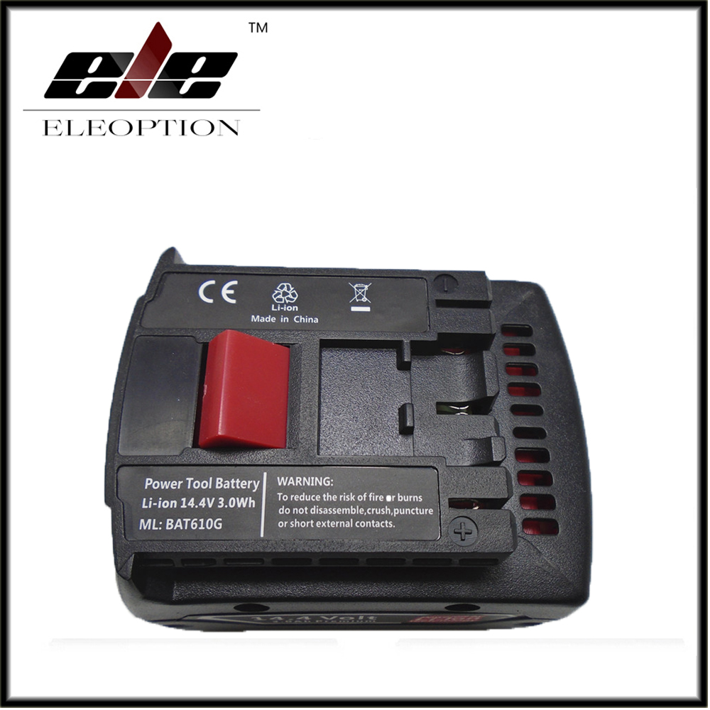 ФОТО Eleoption Rechargeable battery 14.4V 3.0Ah 3000mAh Li-ion Battery for Bosch BAT607 BAT607G BAT614 BAT614G 2 607 336 318
