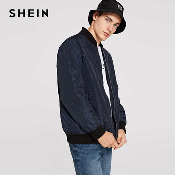 79efd5c9c5 SHEIN Men Navy Casual Solid Pocket Zip Up Textured Stand Collar Minimalist  Jacket ...