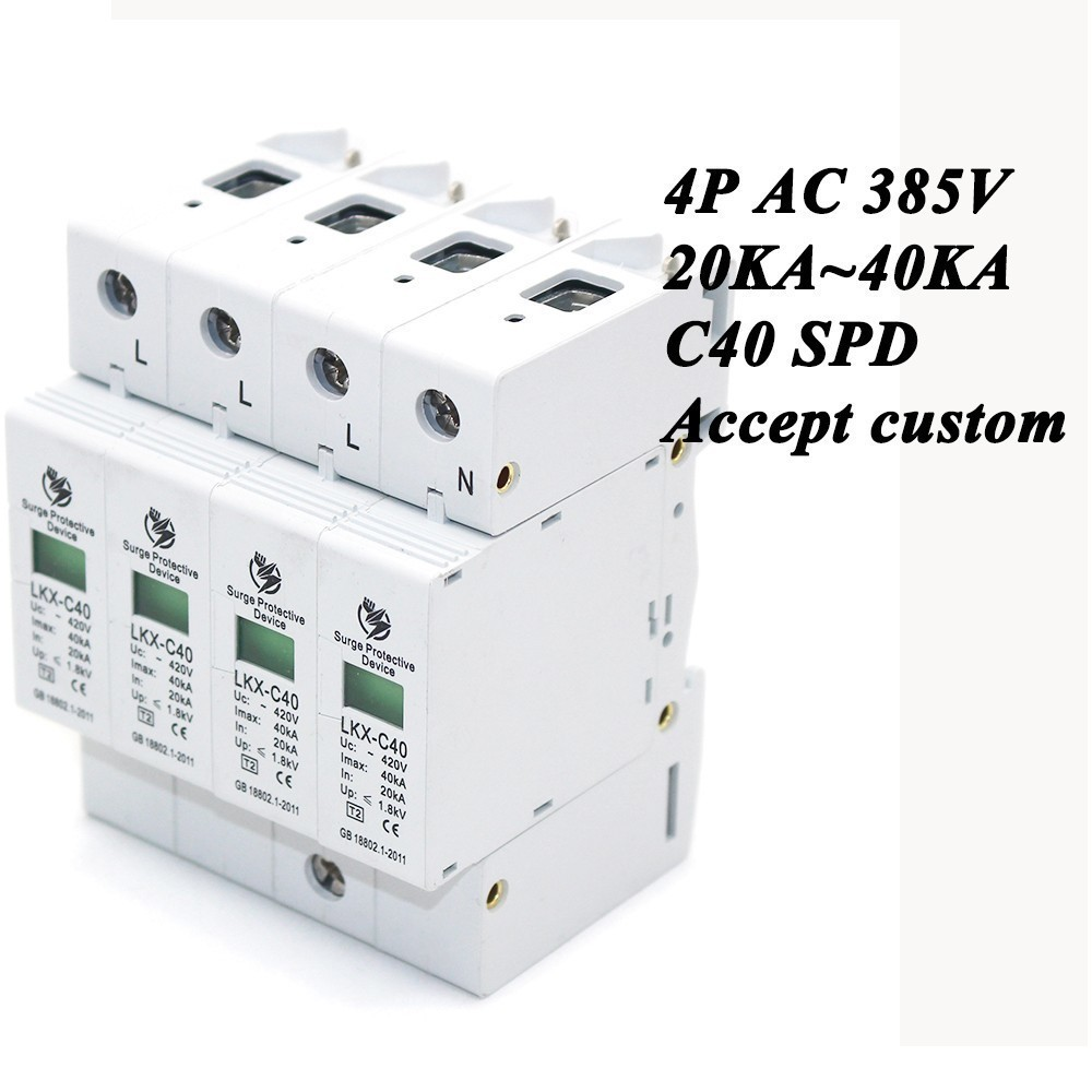 Hot sale C40-4P 20KA~40KA ~385V AC SPD House Surge Protector Protective Low-voltage Arrester Device 3P+N Lightning protection [zob] hagrid spn465r surge protection device 4 65ka t2 grade imported 3p n lightning surge