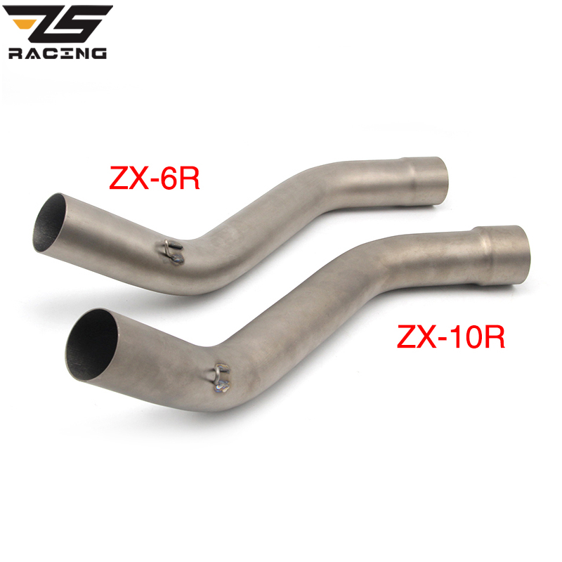 цена ZS Racing ZX-10R ZX-6R Titanium Motorcycle Exhaust Link Middle Pipe Slip-on For Kawasaki ZX10R 2008~2010 or ZX6R 2009-2014 онлайн в 2017 году