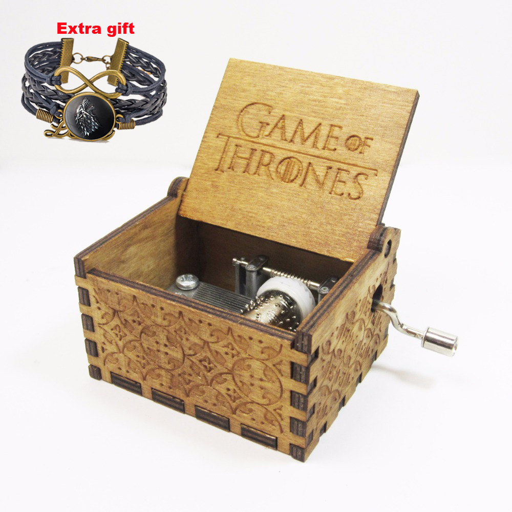 Antique carved wooden game of thrones <font><b>music</b></font> box, Christmas gift, new year gift, birthday gift