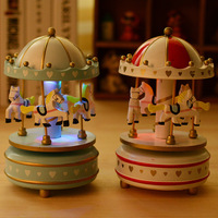 S054 Free Shipping LED Light Merry Go Round Music Box Christmas Birthday Gift Toy Carousel