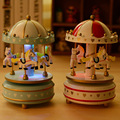 S054 Free Shipping LED Light Merry-Go-Round Music Box Christmas Birthday Gift Toy Carousel