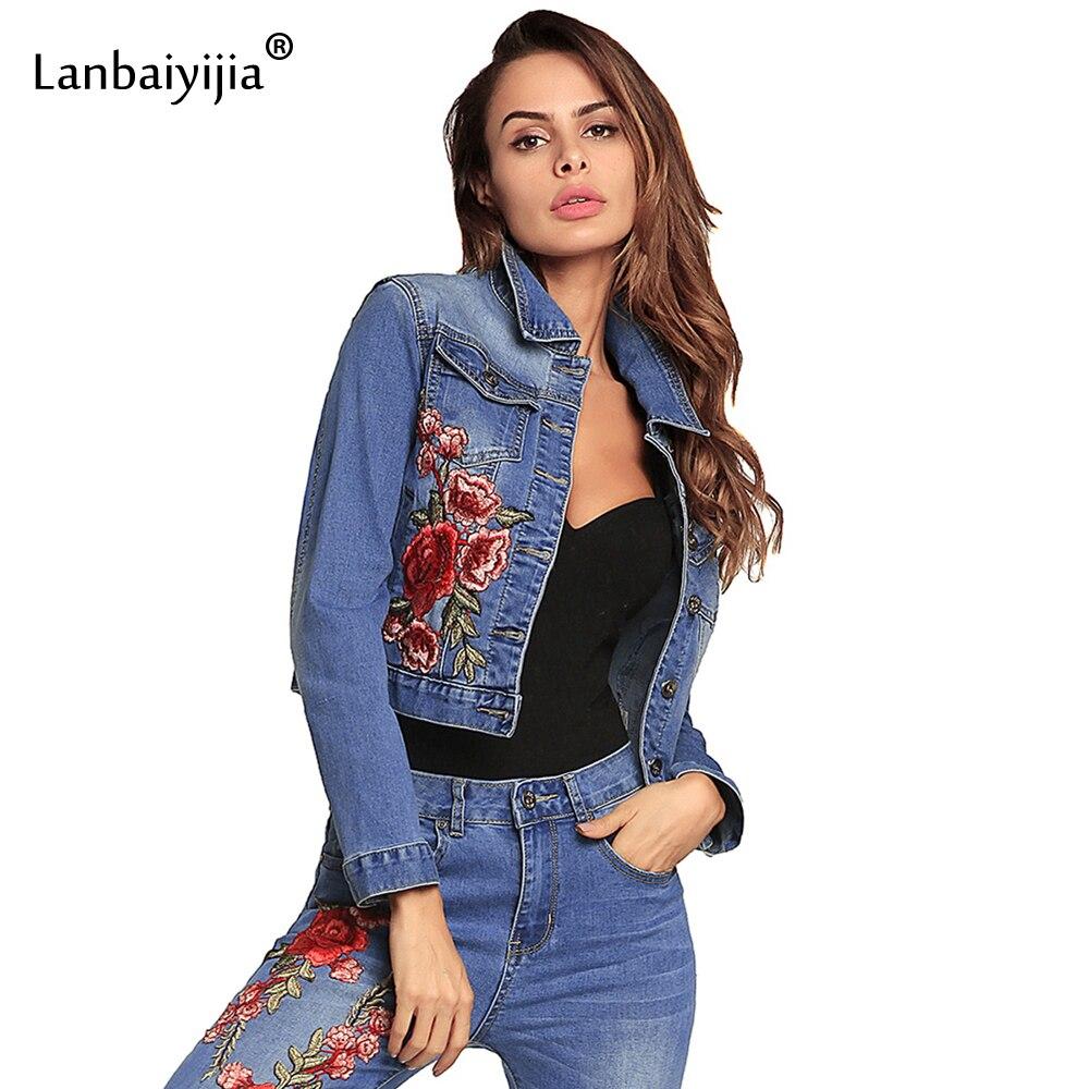 Lanbaiyijia 2018 date femmes Jeans veste court Style simple boutonnage col rabattu broderie grandes fleurs rouges vêtements d'extérieur