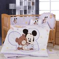 Promotion! 8PCS Mickey Mouse baby bedding sets ,crib bedding sets for kids,(bumper+matress+duvet+pillow)