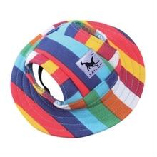 Домашняя шляпа для собак и кошек, Женская полосатая шляпа для собак, сетчатая дышащая шляпа от солнца, аксессуары для домашних животных