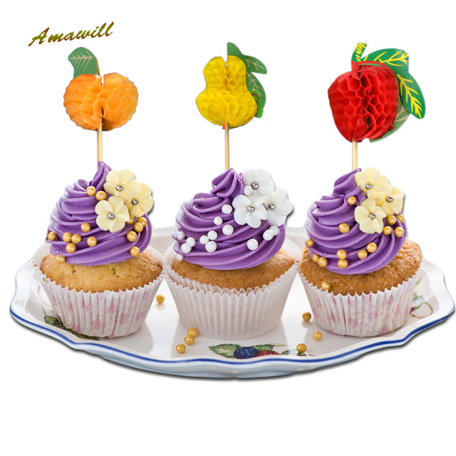 Amawill 20 30 100pcs Fruit Pineapple Cake Toothpick Cupcake Topper