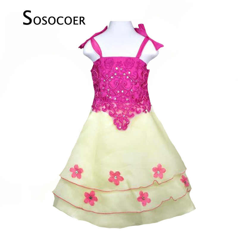 SOSOCOER Little Girl Party Dress Summer Style Flowers Kids Suspenders Dresses For Baby Clothes Fashion Brand Cute Girls Dress 2018 new fashion little girls summer floral dress print flowers loose casual party dress for gril cotton children kids clothes