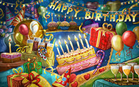Holiday Birthday Cake Balloon Gift Flag backgrounds High quality Computer print party photo backdrop